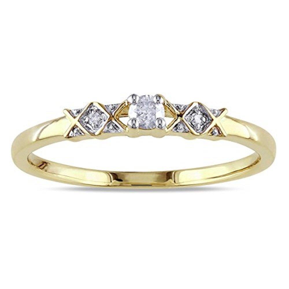 14k Yellow Gold Plated 0.10 ct Princess Cut Emerald Three Stone Ring DreamJewels three14