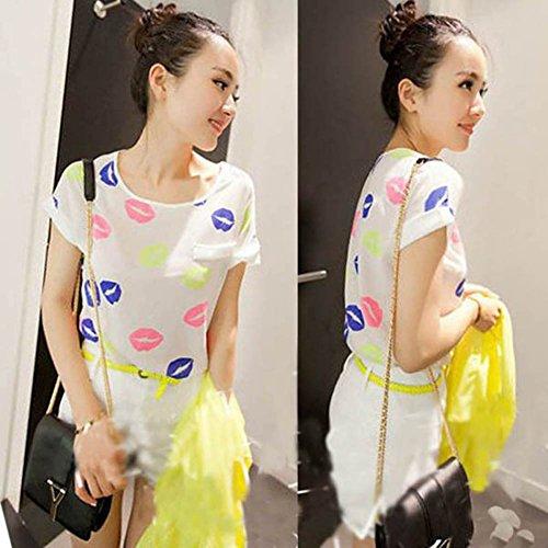 soie shirt Blanc Fille souris chauve manches Printed longues Multicolors ample d't mousseline pour de Tops femme ROPaLIA Lips en OIqxaw08