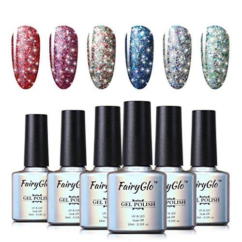 UV LED Nail Polish 6pcs Soak Off Starry Gel Nail Art Starter Kit Shimmer Manicure Lacquer Varnish Gift Set FairyGlo 10ml 018