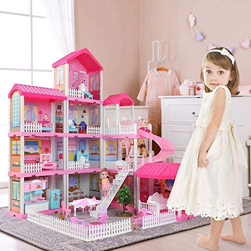Temi Dollhouse Dreamhouse Building Toys Figure w/ Furniture Accessories Movable Slides Pets and Dolls DIY Cottage Pretend Play Doll House for Toddlers Boys & Girls(11 Rooms)