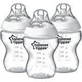 Tommee Tippee Closer to Nature Baby Bottle, Anti-Colic Valve, Breast-like Nipple for Natural Latch, BPA-Free  - Slow Flow, 9 Ounce, 3 Count