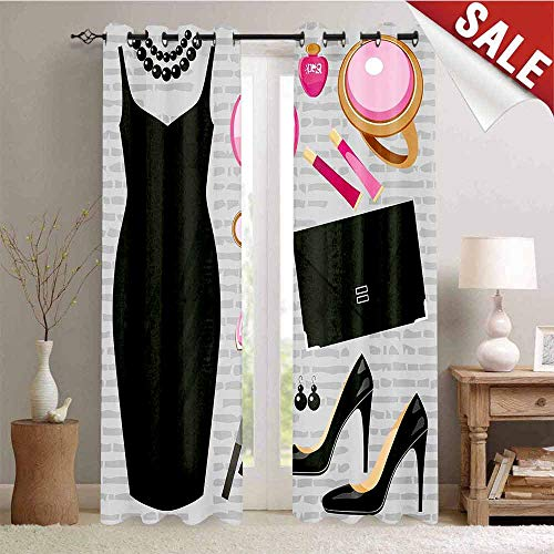 Hengshu Waterproof Window Curtain Black Smart Cocktail Dress Perfume Make Up Clutch Bag Decorative Curtains for Living Room W84 x L84 Inch Black Light Pink Light Brown