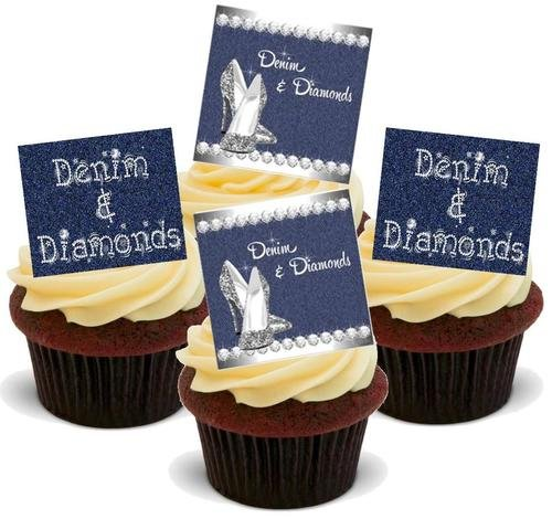 DENIM & DIAMONDS PARTY MIX - 12 Edible Stand Up Premium Wafer Cake Toppers ()