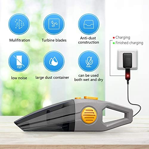 Wireless Car Vacuum Cleaner, 8000PA High Power Portable Handheld Vacuum 120W​​ Wet and Dry Use Portable Cordless Vacuum Cleaner for Car Interior Cleaning