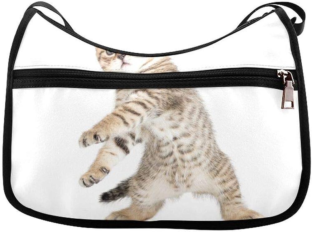 Funny Dancing Cat On White Floor Messenger Bag Crossbody Bag Large Durable Shoulder School Or Business Bag Oxford Fabric For Mens Womens