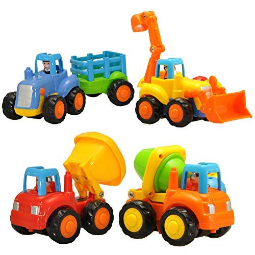 (Set of 4 Cartoon Friction Powered Push & Play Vehicles for Toddlers - Dump Truck, Cement Mixer, Bulldozer, Tractor)