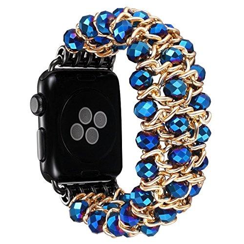 Crystal Stretch Bracelet Watch - Apple Watch Band 42mm, Fashion Handmade Elastic Stretch Crystal Beaded Bracelet Metal Chain Women Girls Strap Wristband for Apple Watch Series 3/2/1, Edition,Sports (blue-42mm)