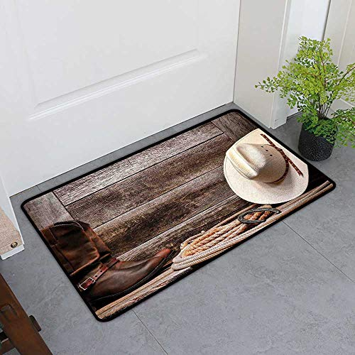Leather Erin (Custom&blanket Inlet Outdoor Door Mat, Western Decor Non-Slip Doormats for Bedroom, American West Rodeo White Straw Cowboy Hat with Lariat Leather Boots on Rustic Barn Wood (H16 x W24))