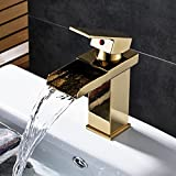 Rozin Gold Polished Waterfall Spout Basin Faucet Single Lever Bathroom Sink Mixer Tap