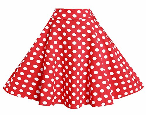 BI.TENCON 1950s Retro Red Polka Dot Skirt High Waisted Full Swing Flare Skirts Plus Size 3XL ()