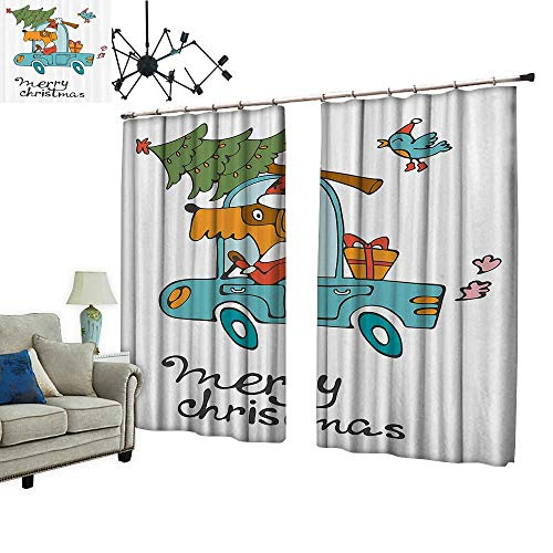 PRUNUS Curtain with Hook Blue Vintage Car Dog Driving with Santa Costume Cute Xmas Bird Tree and Gift Present Blackout Draperies for Bedroom,W108 -