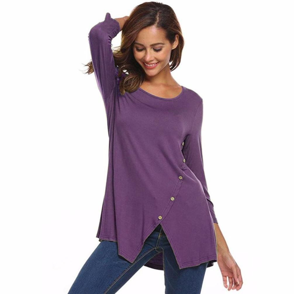e1baec56f3b4b3 Women T Shirt Solid Split Hemline Blouse Casual O Neck Tops Three Quarter  Sleeve Pullover With Buttons at Amazon Women s Clothing store