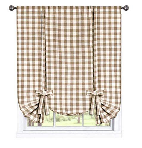 GoodGram Buffalo Check Plaid Gingham Custom Fit Window Curtain Treatments Assorted Colors, Styles & Sizes (Tie Up Shade, -