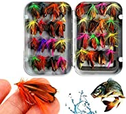 Fly Fishing Lure Butterfly Like Dry Flies Bait Hook for Bass Salmon Trout with Waterproof Pocketed Case Box (3