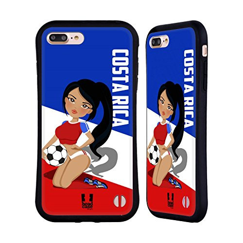 Head Case Designs Costa Rica Football Pin-Ups Hybrid Case Compatible for iPhone 7 Plus/iPhone 8 Plus