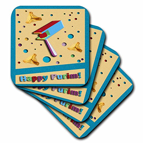 3dRose Happy Purim, Gragger and Hamantaschen-Soft Coasters, Set of 8 (cst_43483_2) (Purim Characters)