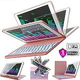 iPad Keyboard Case for iPad 2018 (6th Gen) - iPad 2017 (5th Gen) - iPad Pro 9.7 - iPad Air 2 & 1 - Thin & Light - 360 Rotatable - Wireless/BT - Backlit 7 Color - iPad Case with Keyboard (Rose/White)