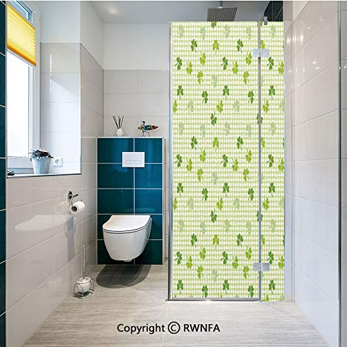 Decorative Window Films Retro Classical Checkered Pattern Decorated with Cute Green Shamrocks Garden Plants Kitchen Glass Sticker Waterproof Anti-UV for Home and Office 23.6