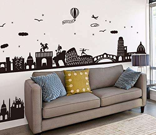 1 Pack Black Color City Buildings Baseboard Wall Sticker For House Decoration Living Room Mural Art PVC Material Flowers Tree World Map Decal Boys Home Laptop Decals Profound Fashionable Vinyl Decor ()