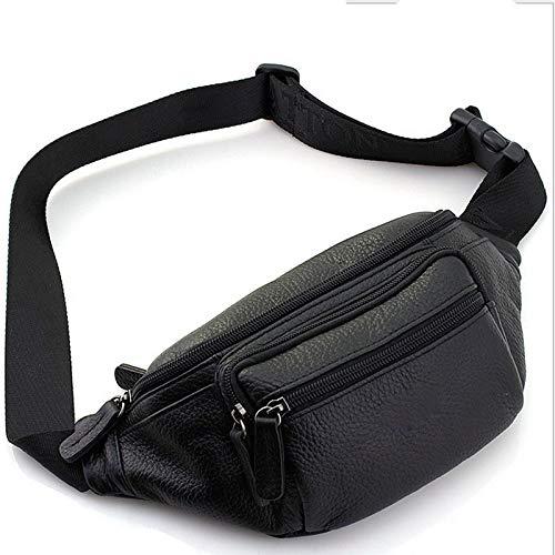 Sviper Genuine Leather Funny Pack New Chest Pocket Casual Sport Waist Bag,21118 Black Travel Money Belt RFID Blocking