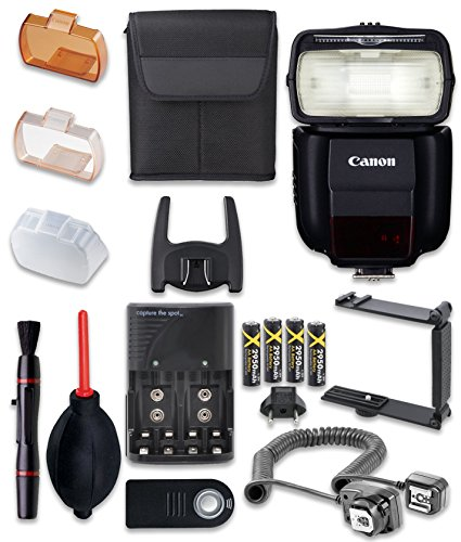 - Canon Speedlite 430EX III-RT Flash with Cleaning Pen + Dust Blower + Remote Control + Battery Charger + TTL Cord + U-Bracket