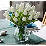 High Quality PU Artificial White Tulips Flowers Real Touch Tulips Wedding Flower Simulation Latex Tulip Flower for Proposal Party Home Hotel Event Christmas Gift Decoration,12PCS/LOT