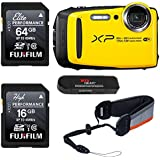 FUJIFILM FinePix XP130 - Yellow, Fujifilm 64GB and 16GB SD Memory Cards and Fujifilm Rugged Float Strap Bundle