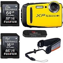 FUJIFILM FinePix XP130 - Yellow, Fujifilm 64GB and 16GB SD Memory Cards and Fujifilm Rugged Float Strap Bundle