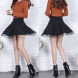 Kaachli Womens Pleated Mesh Petite Mini Skirt with Pocket