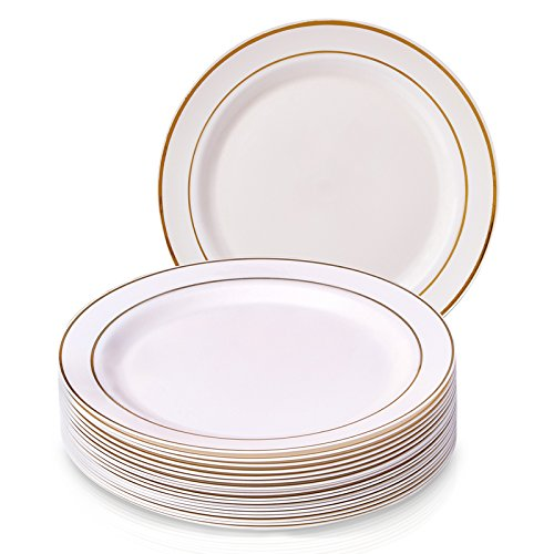 PARTY DISPOSABLE 20 PC DINNERWARE SET | 20 Dinner Plates | Heavyweight Plastic Dishes | Elegant Fine China Look | Upscale Wedding and Dining (Golden Glare Collection– Ivory/Gold Border | 10.25 Inch) for $<!--$15.41-->
