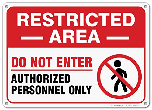 """Restricted Area Authorized Personnel Only Sign, Outdoor Rust-Free Metal, 10"""" X 14"""" - by My Sign Center, A82-203AL"""