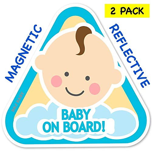New: Baby on Board Magnetic and Reflective Sign for Boy or Girl for Car (2 Pack) (Baby Boy)