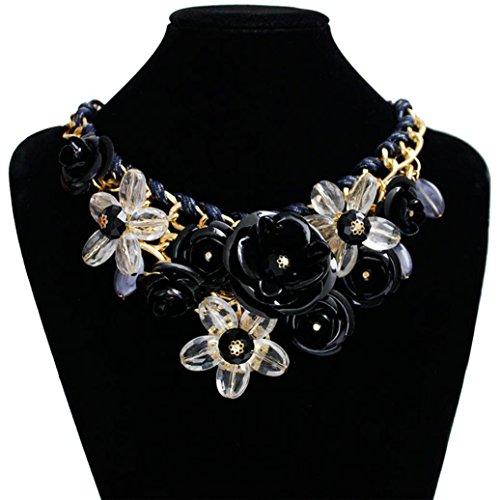DZT1968 Women Mixed Style Chain Crystal Colorful Flower Luxury Weave Necklace (Black) (Black Weave Necklace)