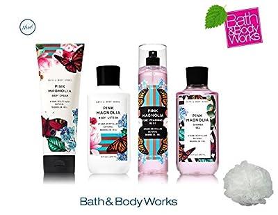 Bath & Body Works PINK MAGNOLIA Deluxe Gift Set Lotion ~ Cream ~ Fragrance Mist ~ Shower Gel + FREE Shower Sponge Lot of 5