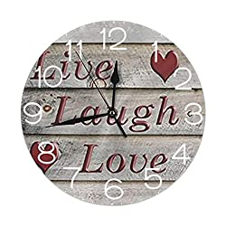 Round Wall Clock Shelf Clock Cartoon Live Laugh Love in Wooden Background Printed for Home House Office School Decor Quiet Numbers Display Battery Operated 9.84 Inch