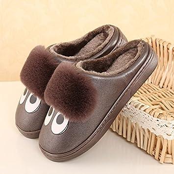 LaxBa Frauen Männer Indoor Anti-Slip Hausschuhe Schuhe Dunkelbraun 40/41 jBax54