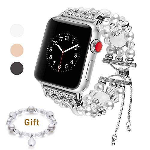 LOVLEOP Fashion Band Compatible with Apple Watch, Adjustable Crystal Pearls iWatch Band Fashion Jewelry Bracelet for iWatch Series 4 3 2 1 Nike+,Sport,Edition (White1 Band + Silver Buckle, 42mm 44mm)