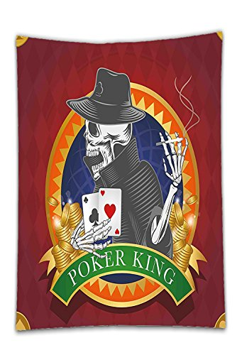 Interestlee Satin drill Tablecloth?Skull Casino Background with Dead Skeleton Poker King Gambler Vegas Smart Game Graphic Multicolor Dining Room Kitchen Rectangular Table Cover Home Decor