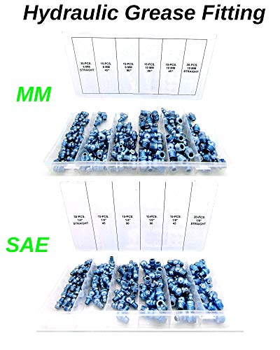 SAE & MM Hydraulic Grease Fitting Kit, 220 Piece Straight and Angled   1/4'', 1/8'' & 6mm, 10mm by Magic Hub HmE