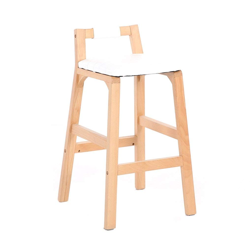 White Solid Wood Bar Stools High Stools Creative Highchairs Family Bar Stools Cafe Restaurant Dining Chairs Bar Stools Front FENPING (color   White)