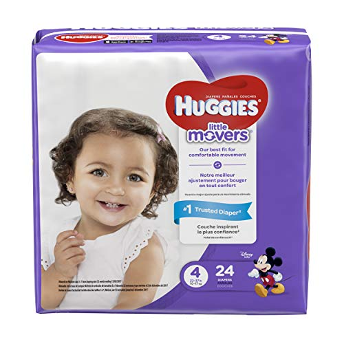 HUGGIES LITTLE MOVERS Diapers, Size 4 (22-37 lb.), 24 Ct., JUMBO PACK (Packaging May Vary), Baby Diapers for Active Babies (Huggies Little Movers Diaper Pants Size 4)