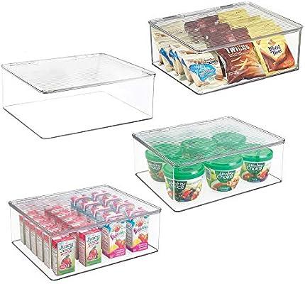 transparente ideales para comida de beb/é Recipiente herm/ético para frigor/ífico Envases de pl/ástico para alimentos mDesign Juego de 2 fiambreras con tapa para nevera