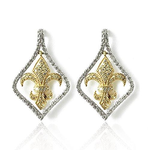 1.12 CTW KITE SHAPE FLEUR DE LIS EARRINGS PAVE SET 14K TWO TONE GOLD ()