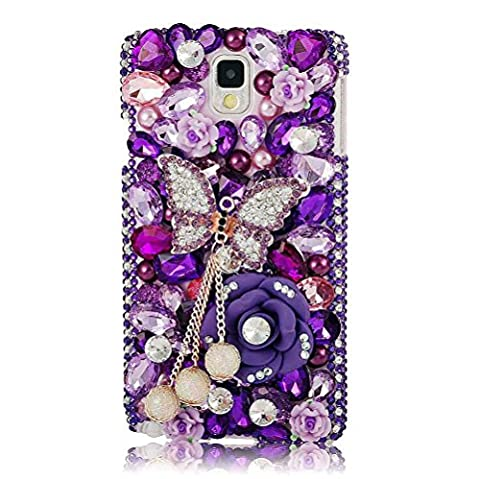 Note 4 Case,Galaxy Note 4 Case - EVTECH 3D Handmade Bling Crystal Full Diamond Pendant Colorful Flowers and Shiny Rhinestone Clear Cover Hard Case for Samsung Galaxy Note 4 SM-N910S (Cell Phone Covers For Samsung 4)