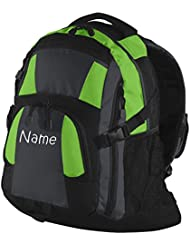 Personalized Black and Lime Urban Backpack with Embroidered Name on Bottom Pocket