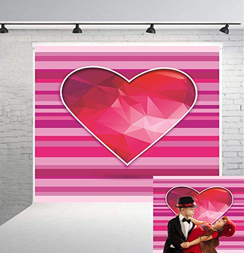 6x6ft Pink and Purple Stripes Red Heart Theme Backdrop Valentine's Day Photo Background for Birthday Party Carnival Party Girls Birtday Party Blush Vinyl Cloth BT-flower020-6x6FT -