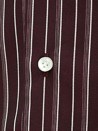 【バルバ】 ボルドー×ホワイト オルタネイトストライプ ドレスシャツI BARBA コットン BRUNO I1U262293203U