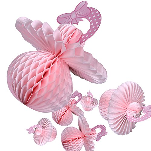 6 Pack Baby Shower Decorations - Girl Pink Paper Tissue Pacifiers for Hanging or Table Centerpieces Honeycomb Design Party Supplies, (Shower Honeycomb Centerpiece)