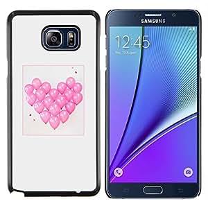 TECHCASE---Cubierta de la caja de protección para la piel dura ** Samsung Galaxy Note 5 ** --amor corazón del globo de San Valentín gris rosa