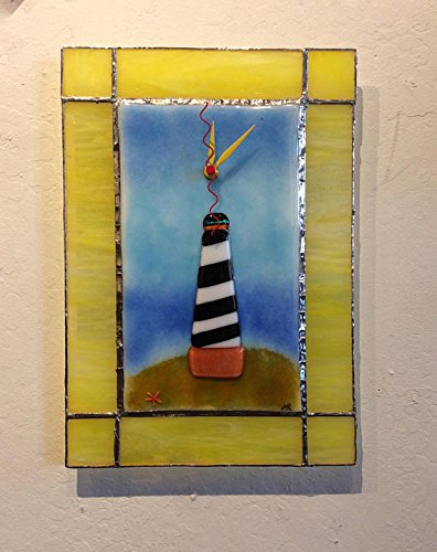 Hatteras Lighthouse Fused and Stained Glass Wall Clock